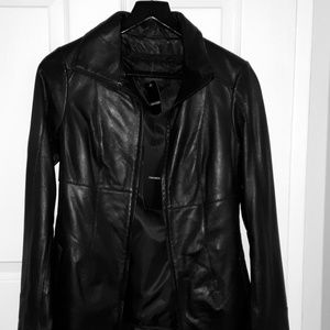 NWT Danier Genuine Leather Long Jacket Black